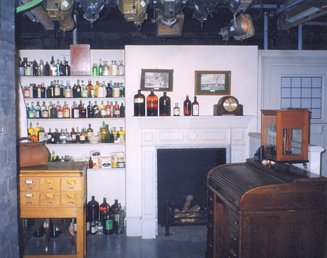 The set for the Dispensary area in the TV series, showing the lighting gantry at the top of the picture