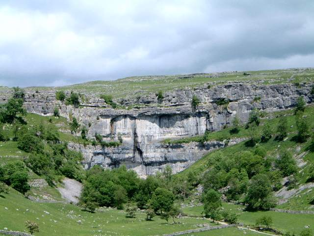 Malham Cove with its 300 foot limestone walls.