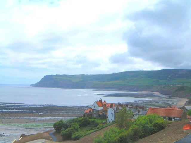 Robin Hoods Bay as viewed from the cliff top car park