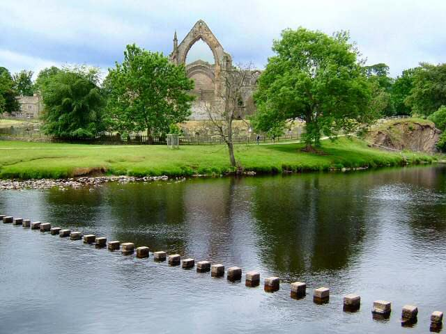 This is the classic view of Bolton Priory taken from the far bank of the River Wharfe, near the stepping stones.