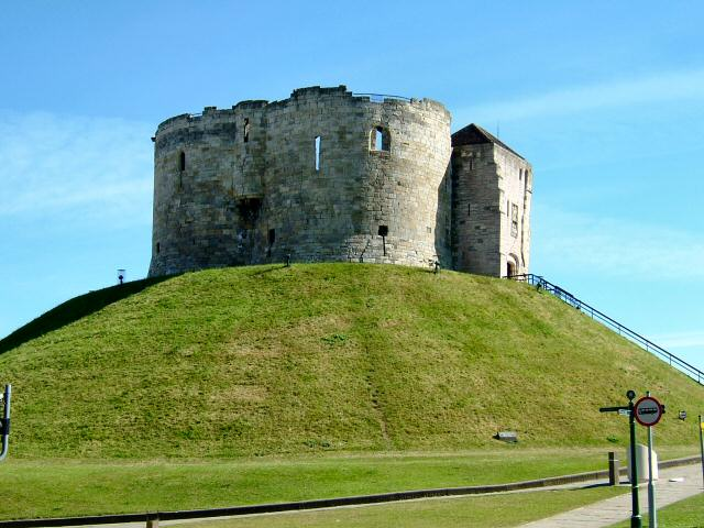 Cliffords Tower with the mound grass freshley trimmed.