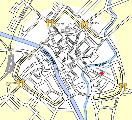 Map of York City centre, showing the entrance gates (bars) and the city walls