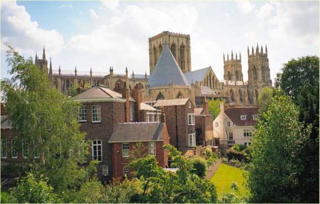 york minster view with gardens